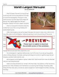 world s largest marsupial super teacher worksheets