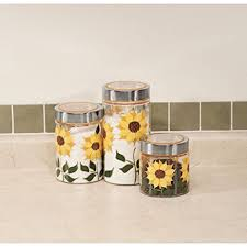 sunflower canisters for kitchen sunflower canisters set of 3 kitchen dining
