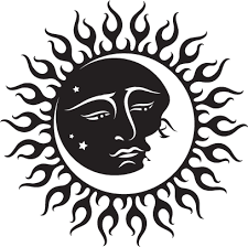 celestial sun and moon design sun faces henna