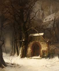 view of a church entrance in winter edmund koken 1814 1872