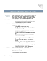 Career Objective Pharmacist Drug Safety Associate Resume And Templates