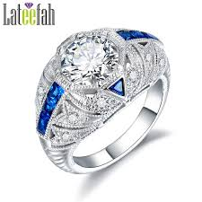 filigree engagement ring deco filigree engagement rings for women big stones blue cubic