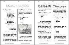 geological time periods and rock strata reading worksheet