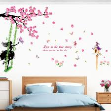 compare prices on tree girls online shopping buy low price tree diy swing girl flower tree wall stickers home decor living room bedroom diy art decals wallpaper