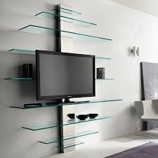 contemporary tv wall unit glass metal mondovisione by