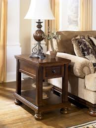 Ashley Furniture End Tables Porter Traditional Rustic Brown Wood Chair Side End Table W