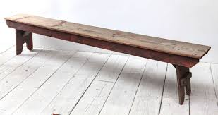 Rustic Wooden Outdoor Furniture Rustic Wood Farm Style Bench With Red Patina At 1stdibs