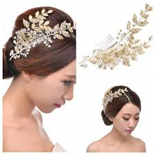 hair accessories for women gold leaf beaded comb for wear top sale