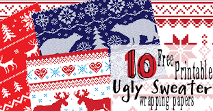 wrapping papers 10 free printable christmas sweater wrapping papers