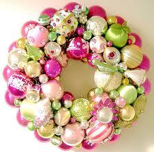 vintage christmas ornaments wreath lime green u0026 pink 140 00 via