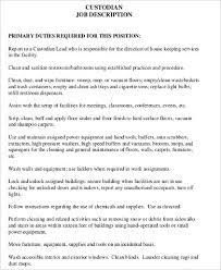 sample custodian resume 8 examples in word pdf