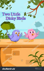 two little dicky birds kids english stock vector 565152229