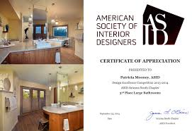 Certificate Of Interior Design by Remodel Portfolio Designlines Tucson Arizona