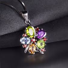 natural topaz necklace images Wholesale jewelrypalace flower multicolor 3 1ct natural amethyst jpg
