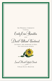 sunflower wedding programs sunflower wedding program create ceremony programs church