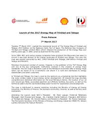 Trinidad And Tobago Map Media Release Launch Of The 2017 Energy Map Of T U0026t Ngc