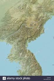 Relief Map North Korea Relief Map With Border Stock Photo Royalty Free
