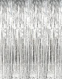 Silver Foil Curtains Metallic Silver Foil Fringe Curtains 1 Pc 36 X 96