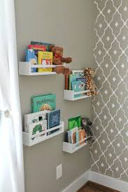 simple turquoise finish wooden floating bookshelf for kids room