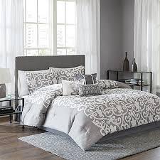 Lotus Bed Frame Lotus Comforter Set In Grey White Bed Bath Beyond