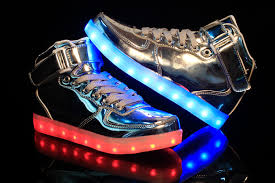rainbow light up shoes unisex high tops light up shoes metallic silver neonjam london