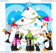 group of happy penguins wearing scarves and hats while decorating