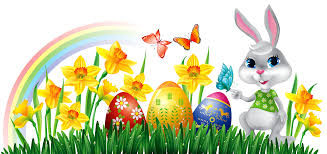 easter bunny with daffodils eggs and grass decor png clipart