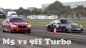 porsche 911 racing 950 hp 9ff porsche 911 almost wipes out 760 hp bmw m5 in drag race