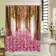 Pink Flower Shower Curtain Water Resistant Fabric Bath Curtain Pink Flowers Shower Curtain