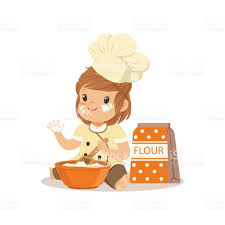 Baking Whisk by Cute Smiling Little Chef With Bowl And Whisk Baking Vector