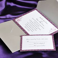 affordable pocket wedding invitations purple and gray pocket wedding invitation cards ewpi027 as