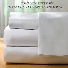 1 new white cotton king size sheet set t250 percale best for