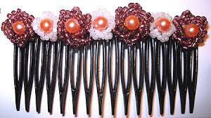 hair beading beaded flower hair comb pattern by allegra