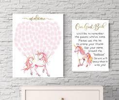 unicorn fingerprint guestbook print unicorn baby shower fantasy
