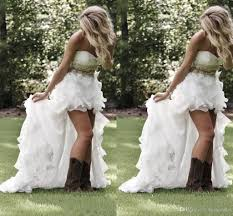 cheap modest high low country style wedding dresses 2016