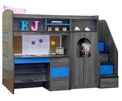 dark gray laminated particle wood bunk beds with stairs built in