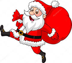 santa claus cartoon running with the bag of the presents u2014 stock