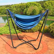 sunnydaze 2 point hanging hammock chair swing and a stand set for