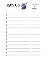 Sign Up Sheet Template For Word Email Opt In Sign Up Sheet Search Sign Up