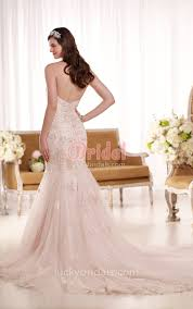 blush wedding dress low v back blush lace strapless sweetheart trumpet wedding