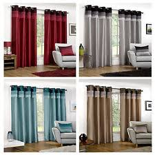 Whitworth Duck Egg Lined Curtains Striped Eyelet Top Curtains Ebay