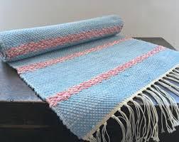 Denim Rag Rug Swedish Large Rag Rug Large Woven Rag Rug Striped Denim Blue