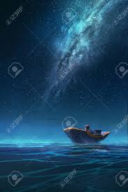 fisherman in a boat at night under the milky way illustration