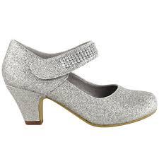 childrens kids girls wedding diamante strap low mid heel shoes