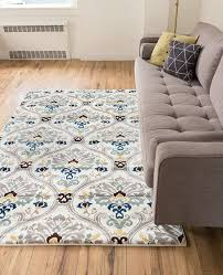 ogee waves lattice grey gold blue ivory floral area rug 5x7 5 u00273