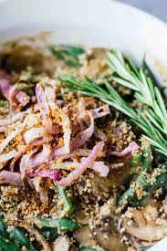 green bean recipes for thanksgiving vegan green bean casserole w rosemary garlic mushrooms jar of