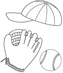 baseball cap glove and ball coloring page sports