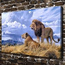 a1348 natural scenery animal lion scenery hd canvas print home