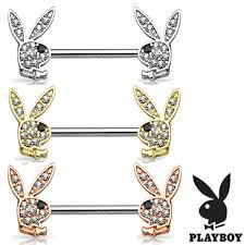 nipple rings images Pair crystal paved playboy bunny nipple rings beauty mark body jpg