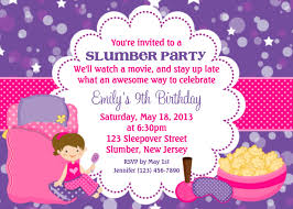 Personalized Birthday Invitation Cards Slumber Party Invitation Personalized Custom Sleepover